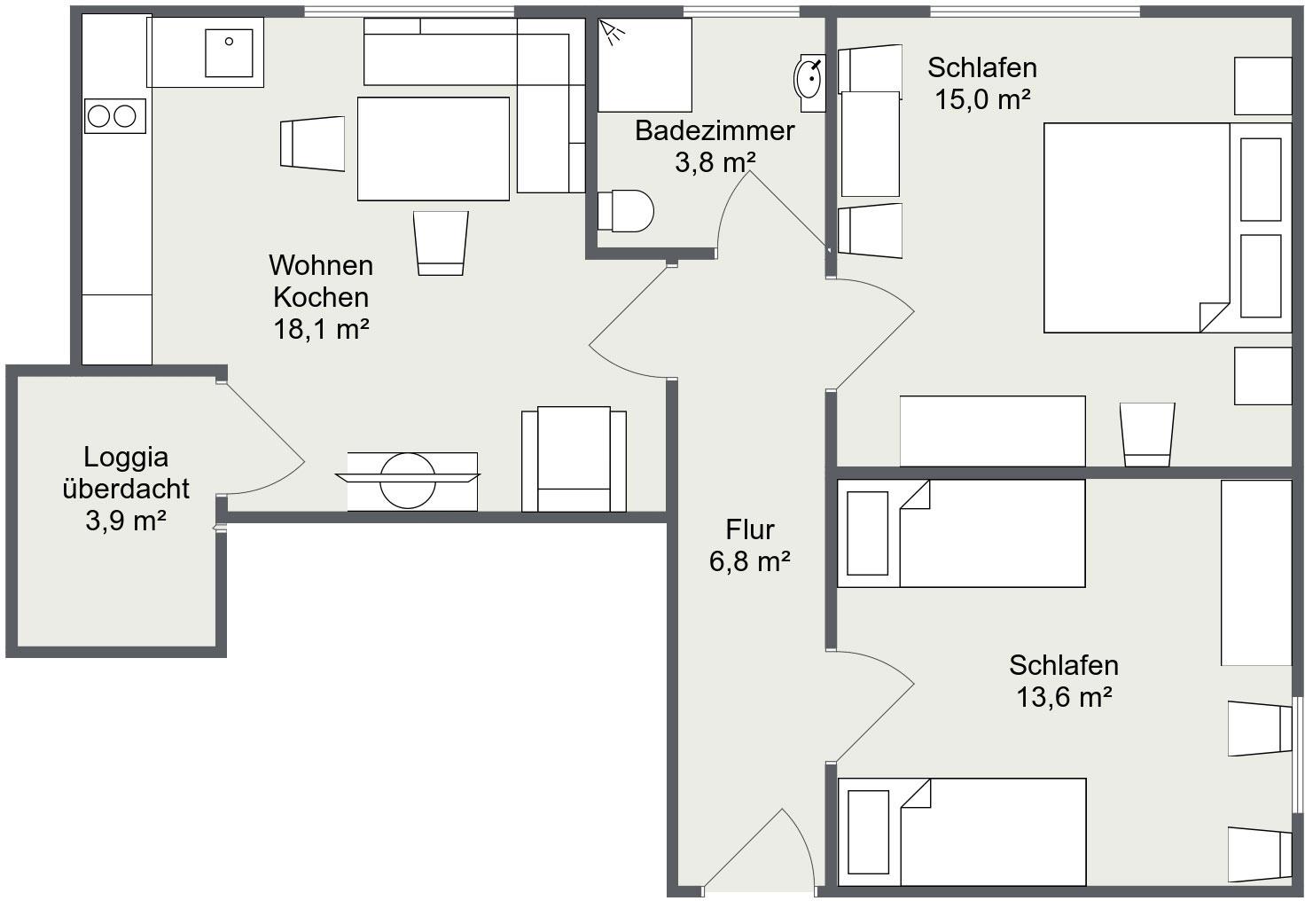 Grundriss Apartment Matri 4