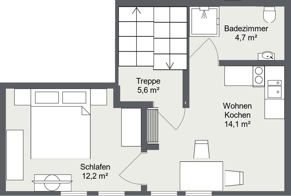 Grundriss Apartment Matri 6